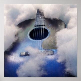 ギターの夢の青いポスター ポスター