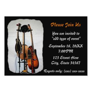 ギターの楽器の演奏会の招待状 カード