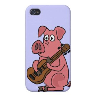 ギターの漫画を遊んでいるBUのおもしろいなブタ iPhone 4 COVER