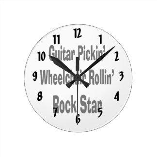 ギターの盗品の車椅子の圧延のロックスターのbk ラウンド壁時計