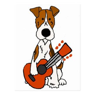 ギターの芸術を置くかわいいフォックステリア犬 ポストカード