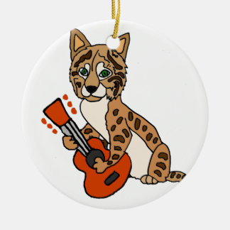 ギターの芸術を遊ぶおもしろいなボブキャット セラミックオーナメント