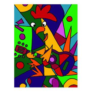 ギターの近代美術の起源を遊んでいるおもしろいな鶏 ポストカード