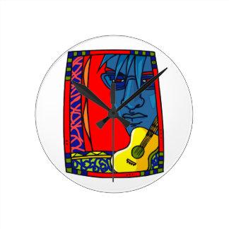 ギターの顔の赤いカラフルdesign.png ラウンド壁時計