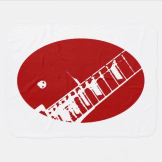 ギターの首のスタンプの赤と白の楽器 ベビー ブランケット
