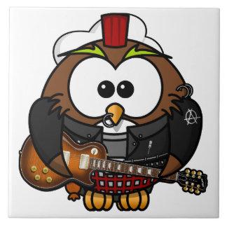 ギターを持つフクロウ タイル