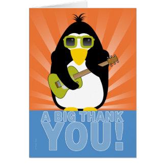 ギターを持つRockinのペンギンは感謝していしています カード