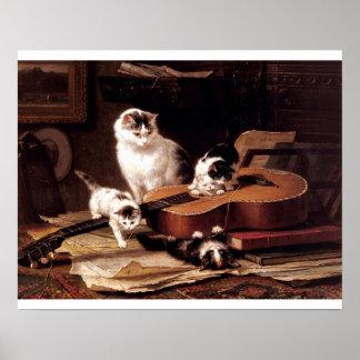 ギターを演奏しているいけない子ネコ ポスター