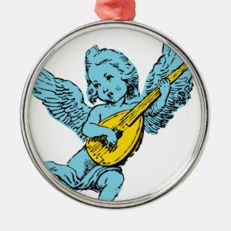 ギターを演奏している天使 メタルオーナメント