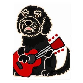 ギターを演奏するおもしろいなLabradoodle ポストカード