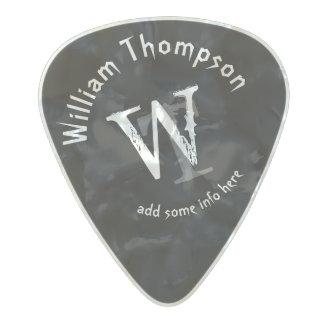 ギタープレーヤーのモノグラム-名前入りで黒い石 パールセルロイド ピック