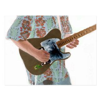 ギター奏者の絵画逆音楽デザイン ポストカード