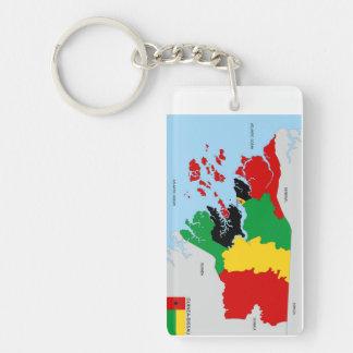 ギニア-ビサウの国の政治地図の旗 キーホルダー
