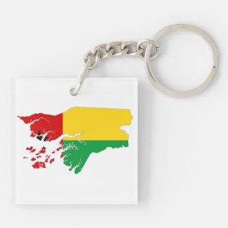 ギニア-ビサウの国旗の地図の形のシルエット キーホルダー