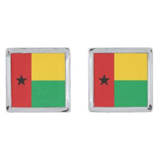 ギニア-ビサウの旗のカフスボタン 銀色 カフリンク