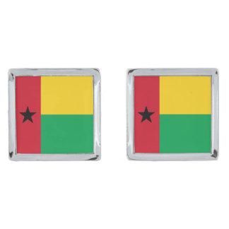 ギニア-ビサウの旗 銀色 カフリンク