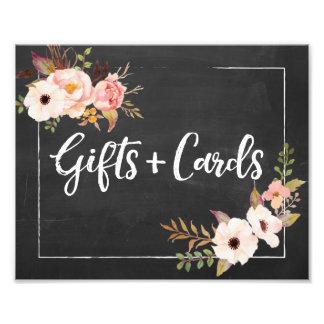 ギフトおよびカード素朴な花の結婚式の印 フォトプリント
