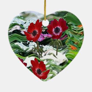 ギフトのおもしろいのエレガントで赤いアネモネの花の表示 セラミックオーナメント