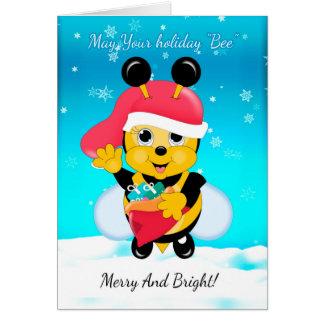 ギフトのおもしろいの休日の帽子そして袋を持つ蜂蜜の蜂 カード
