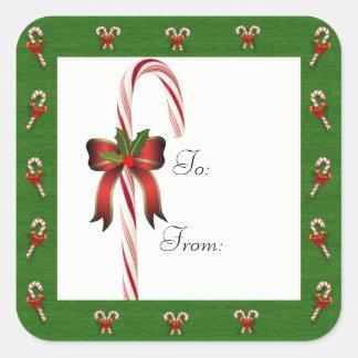 ギフトのステッカーに出入するクリスマスのキャンディ・ケーン スクエアシール