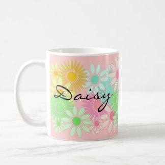 ギフトのマグのデイジーの名前入りで個人的なデイジーパターン コーヒーマグカップ
