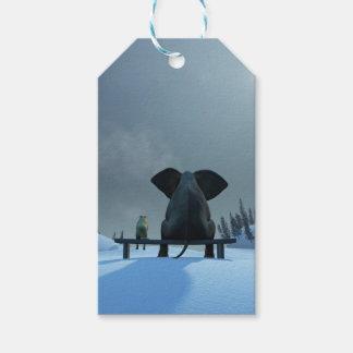 ギフトのラベル犬および象の友人のパック ギフトタグ