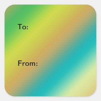 ギフトのラベル。 カラーストリップ、青、黄色および緑 スクエアシール