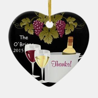 ギフトのワイン愛好家2015のオーナメントありがとう セラミックオーナメント