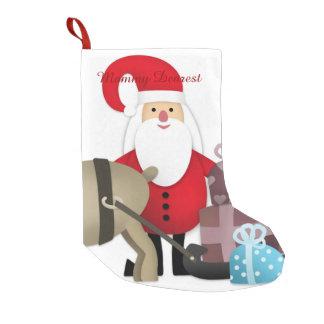 ギフトを持つサンタ及び彼のトナカイ スモールクリスマスストッキング