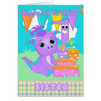 ギフトを持つ姉妹の第1誕生日のかわいく小さいモンスター カード