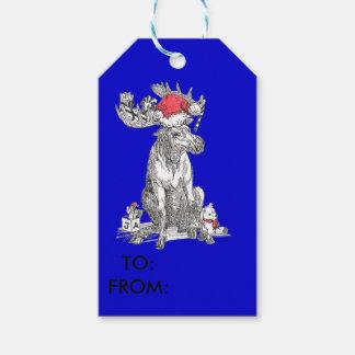 ギフトを持つ青くかわいいクリスマスの着席のアメリカヘラジカ ギフトタグ