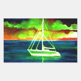 ギフトを航海するネオンヨットの薄暗がり30の海 長方形シール