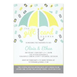 ギフトカードベビーシャワーの招待状、緑黄色 12.7 X 17.8 インビテーションカード