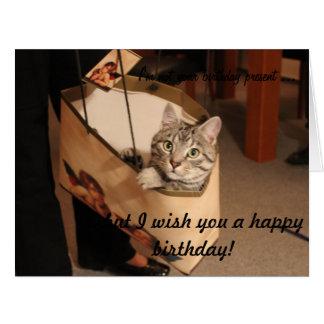 ギフトバッグの猫: 大きいバースデー・カード ビッググリーティーングカード
