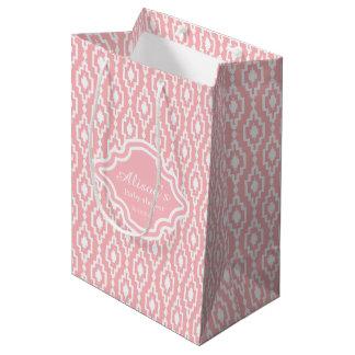 ギフトバッグ-斜方形の静かの格子ピンク、ベビーシャワー ミディアムペーパーバッグ