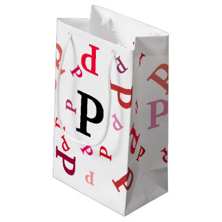 ギフトバッグ-赤およびピンクの乱雑な手紙 スモールペーパーバッグ
