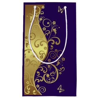 ギフトバッグ--金ゴールドの渦巻及び暗い紫色 スモールペーパーバッグ