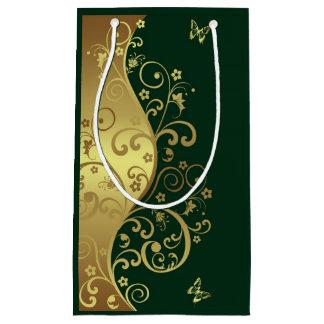 ギフトバッグ--金ゴールドの渦巻及び深緑色 スモールペーパーバッグ
