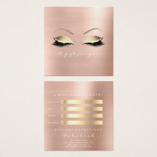 ギフト券のバラのグリッターの金ゴールドの鞭の化粧 スクエア名刺