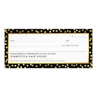 ギフト券のモダンで魅力的な点の模造のな金ゴールドの黒 ラックカード