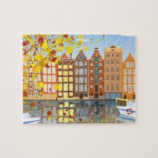ギフト用の箱が付いているアムステルダム都市秋のパズル ジグソーパズル