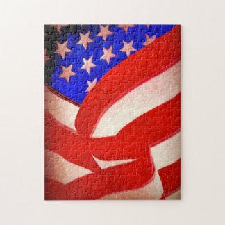 ギフト用の箱が付いている米国旗11x14の写真のパズル ジグソーパズル