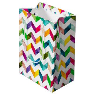 ギフト用包装紙-虹のシェブロンパターン(1) ミディアムペーパーバッグ