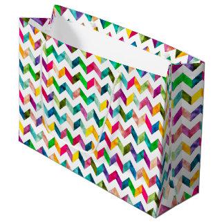 ギフト用包装紙-虹のシェブロンパターン(1) ラージペーパーバッグ