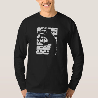 ギャグのクリーパーの写実的な長袖のティー-黒 Tシャツ