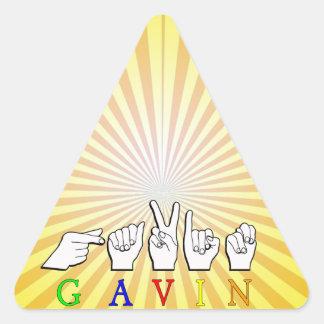 ギャビンの一流の印FINGERSPELLED ASL 三角形シール