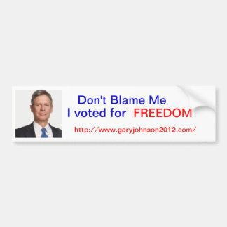 """ギャリージョンソンは""""自由のために責任にしません私の、私投票しました"""" バンパーステッカー"""