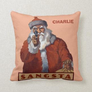 ギャングのサンタのカスタムなモノグラムのクリスマスの枕 クッション