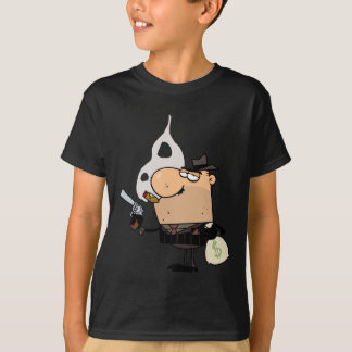 ギャングはお金の銃そして袋を握ります Tシャツ