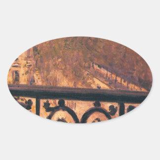 ギュスターブCaillebotte著パリのバルコニー 楕円形シール